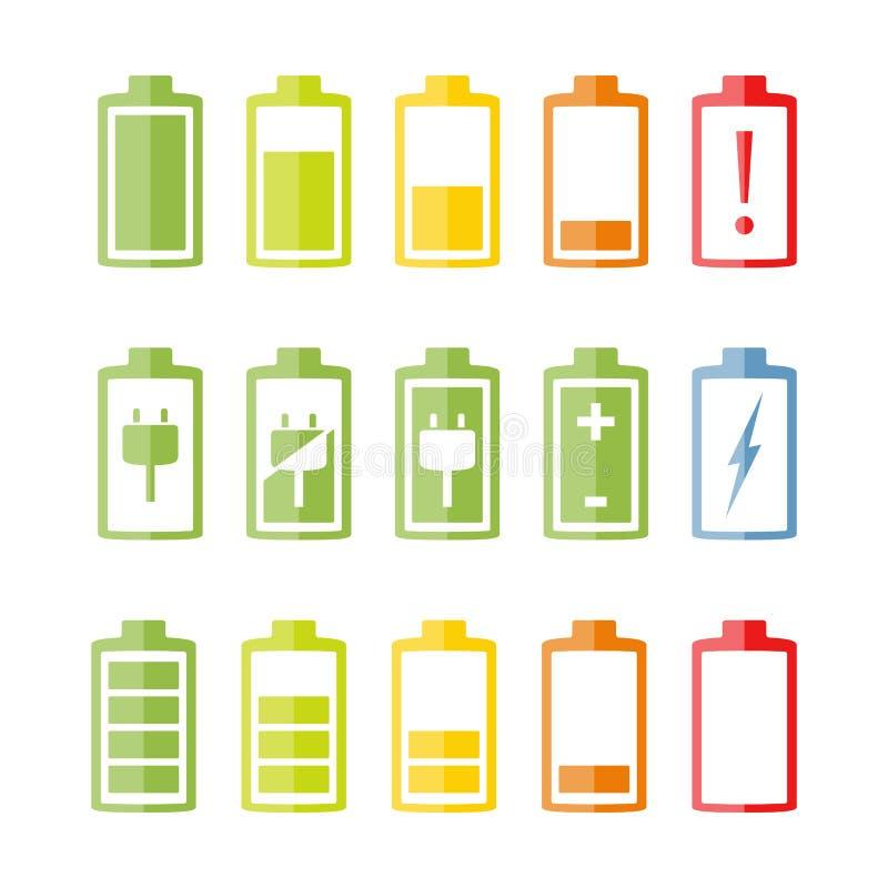 Flat Battery Icons Set vector illustration