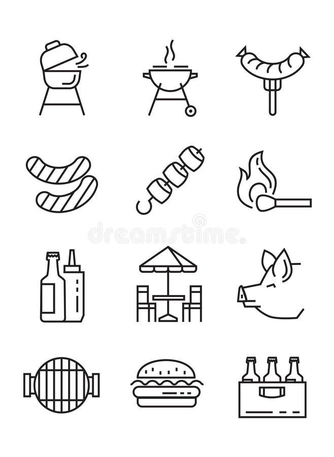 Flat bbq icons. Vector black flat bbq icons on white royalty free illustration