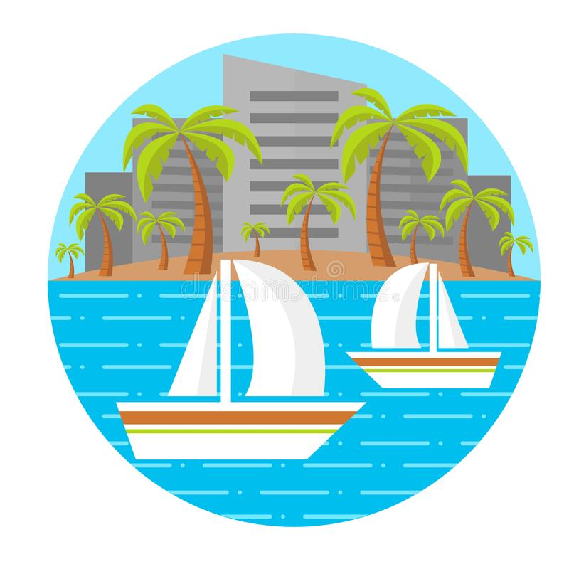 Flat beach landscape. Two sailing boats. Palm trees. City landscape. Vector illustration. Editable. Isolated. Round composition. E stock image