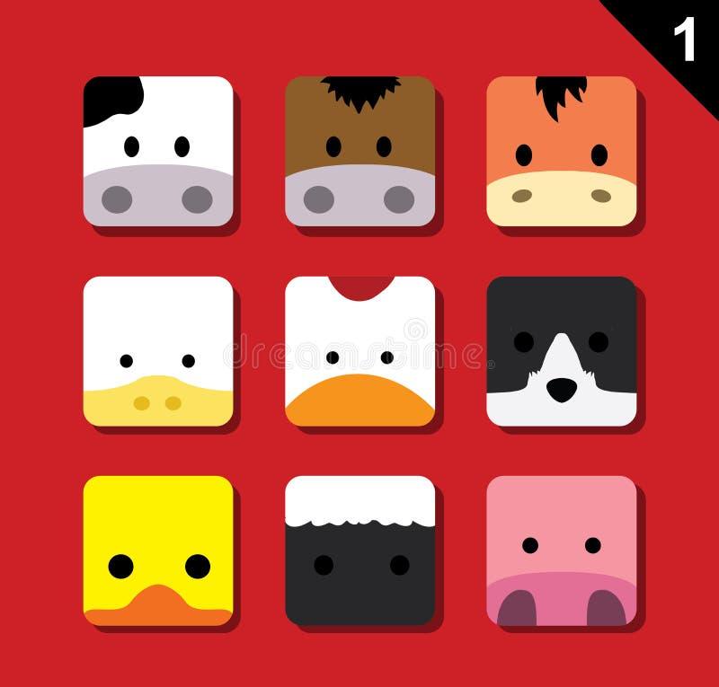 Free Flat Big Animal Faces Application Icon Cartoon Vector Set 1 (Farm Animals) Royalty Free Stock Image - 63214316