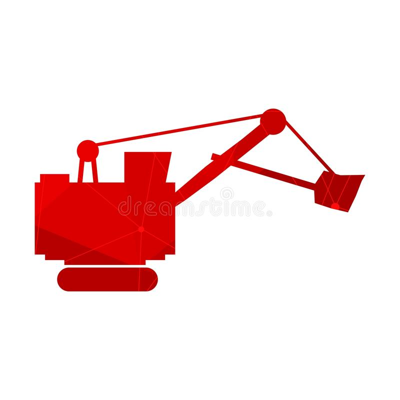 Flat excavator icon. Flat big excavator icon. Textured by lines and dots pattern royalty free illustration
