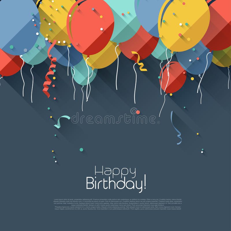 Flat birthday background vector illustration
