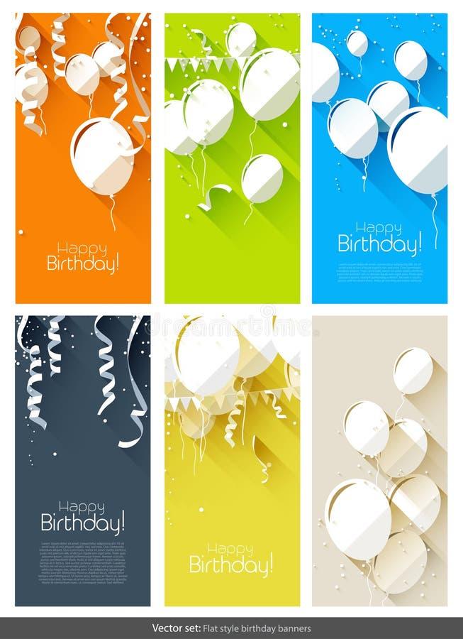 Flat birthday banners vector illustration