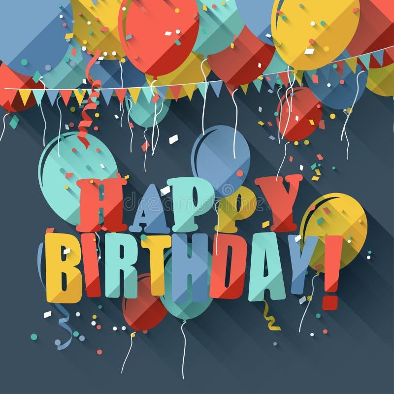 Flat birthday greeting card. Colorful birthday greeting card with colorful balloons/flat design style royalty free illustration