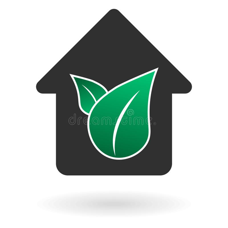 Flat black house and green leaves icon with shadow royalty free illustration