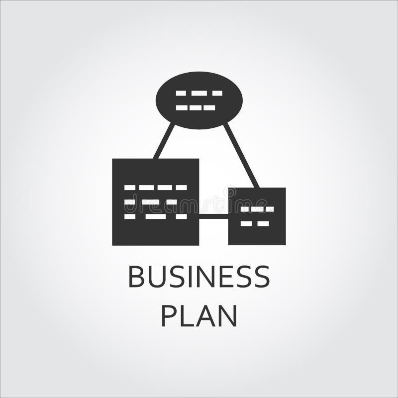 Flat black icon business plan, algorithm of action, scheme list stock illustration