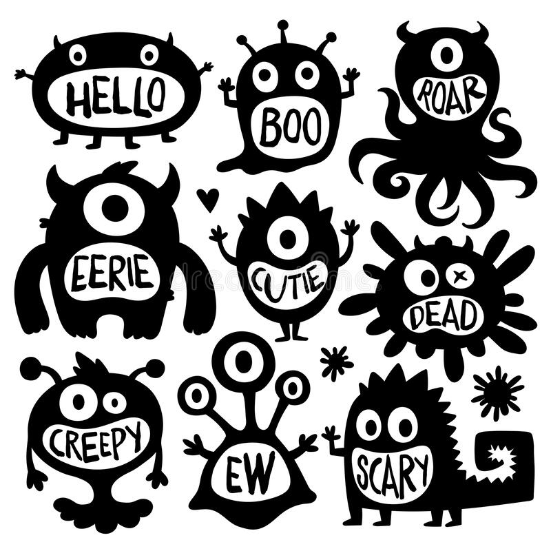 Flat black and white design style cartoon  illustration set of cute monsters s vector illustration