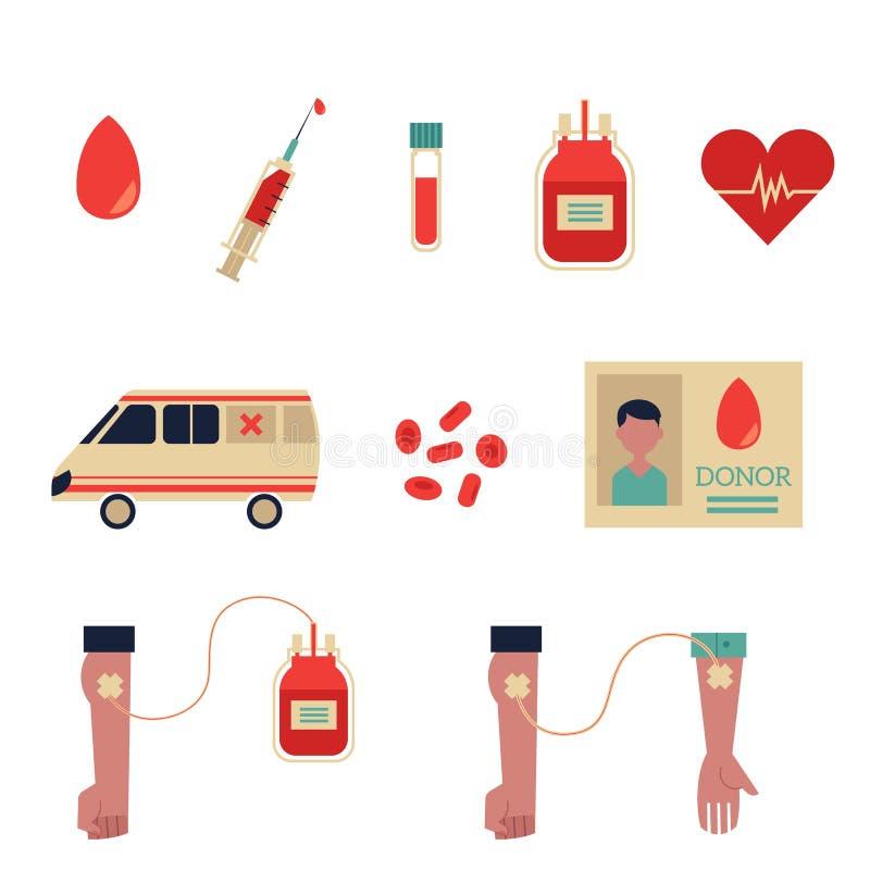 Vector Flat Blood Donation Symbols Set Stock Vector Illustration