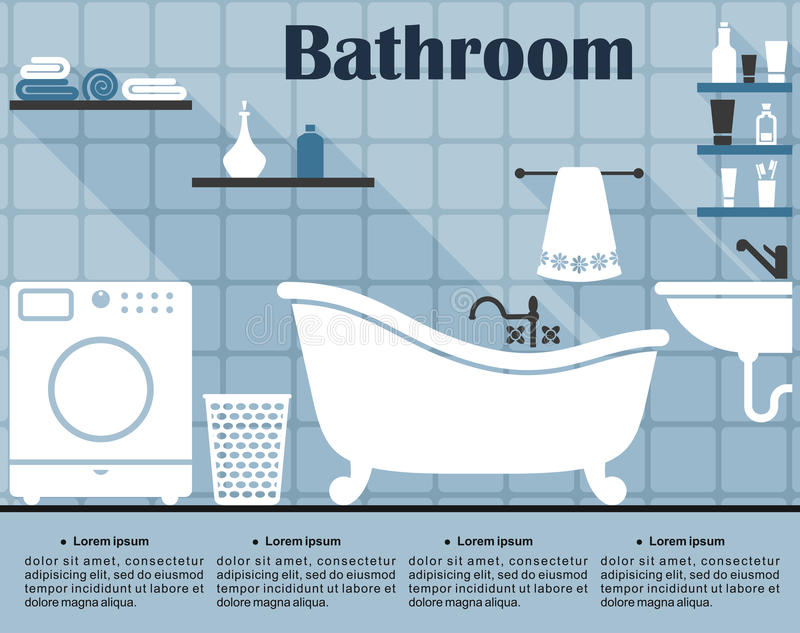 Flat blue bathroom interior with long shadows. Blue bathroom interior in flat style showing the wall with tile, bath, sink, washing machine, laundry basket and royalty free illustration