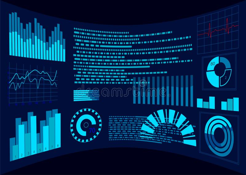 Flat blue HUD virtual dashboard display. User interface touch screen. Graph trend diagram. Data analysis augmented. Reality helmet control panel. Future stock illustration