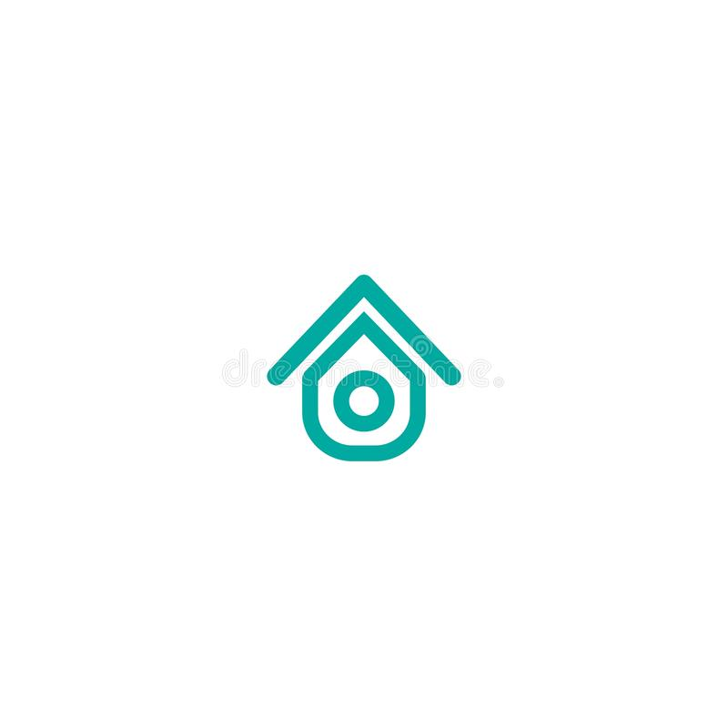 Flat blue outline home icon. Simple silhouette of the house with roof stock illustration