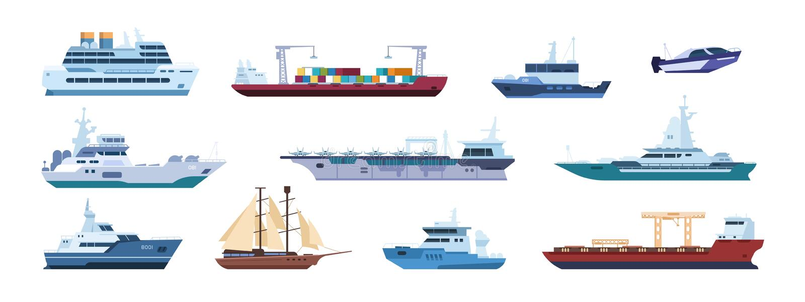 Flat boats. Ocean sailboats ships yacht and catamarans, isolated marine transport. Vector sailing vessel and motor ships vector illustration