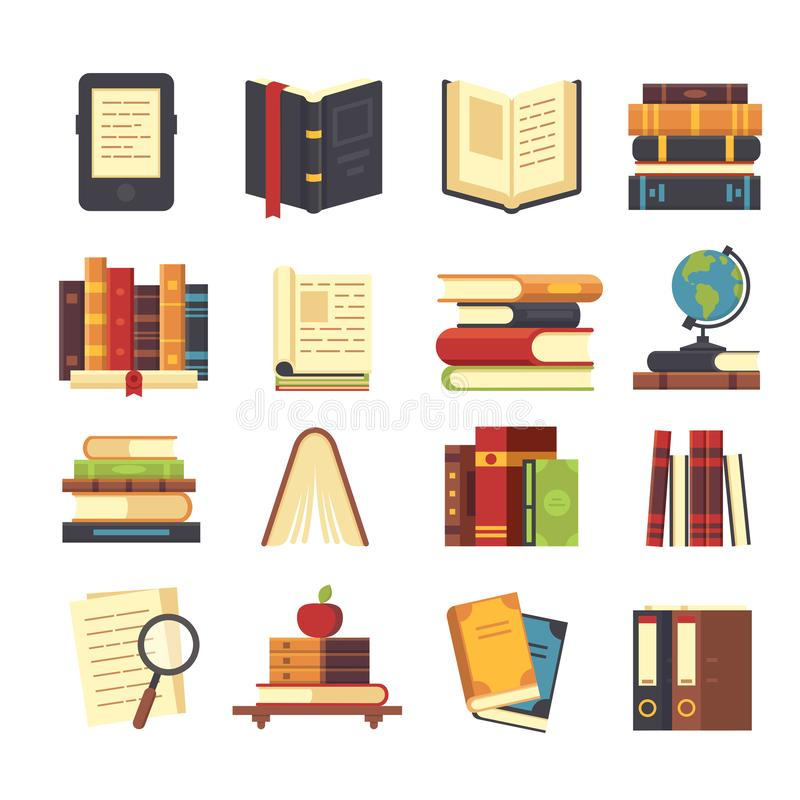 Flat book icons. Library books, open dictionary and encyclopedia on stand. Pile of magazines, ebook and novel booklet. Flat book icons. Library books, open vector illustration