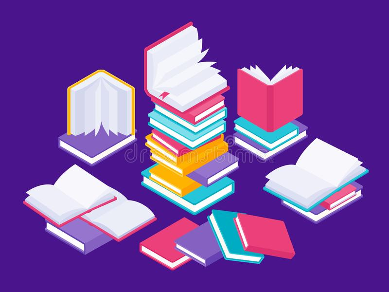 Flat books concept. Literature school course, university education and tutorials library illustration. Vector group of royalty free illustration