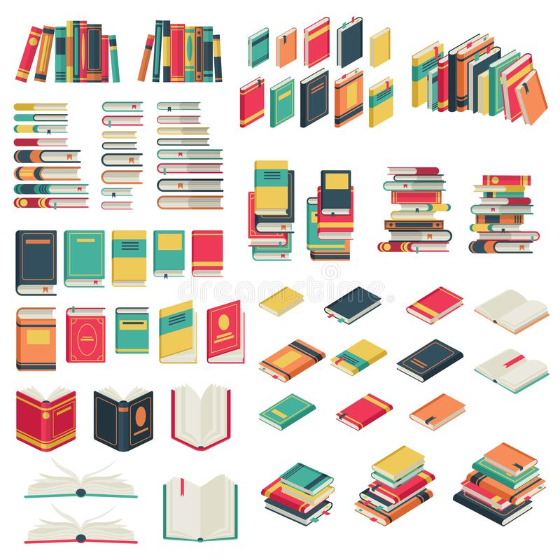 Flat books set. Book school library publishing dictionary textbook magazine open closed page studying vector collection. Flat books set. Book school library stock illustration