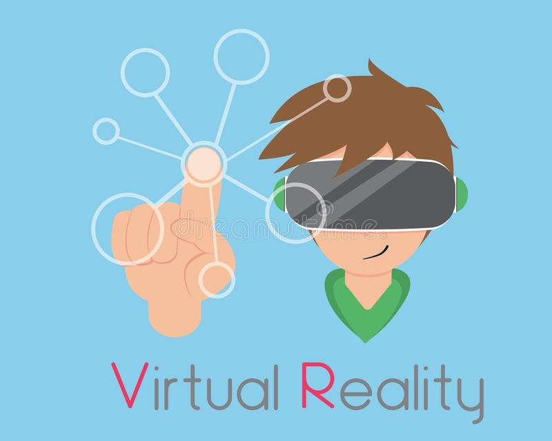 Flat Boy are Playing Virtual Reality. New technology that takes you into the limitless world royalty free illustration