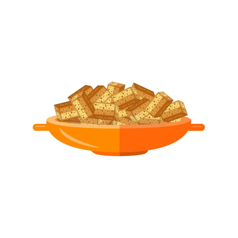 Vector flat bread rusks for beer. Flat bread crispy dried rusks served in orange ceramic pot. Beer snacks, unhealthy crunchy crispy fat food. Junk fried slices vector illustration