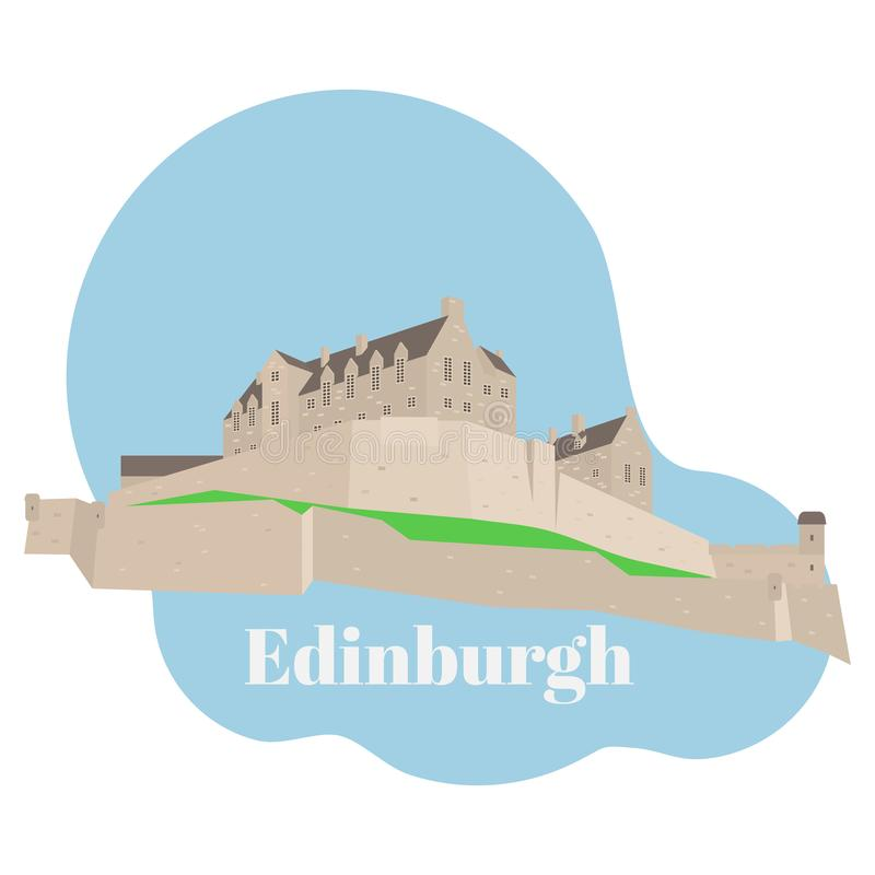 Flat building of Edinburgh Castle in Scotland, United Kingdom. Historic sight attraction sightseeing landmark. stock illustration