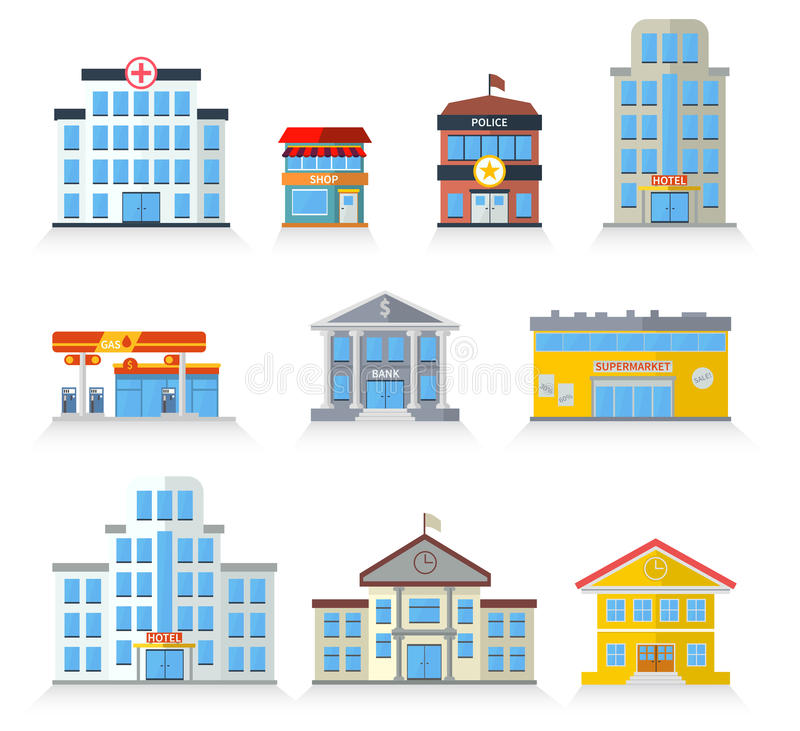Flat building fronts. Of hospital, police, store, market, school, university, hotel and bank stock illustration