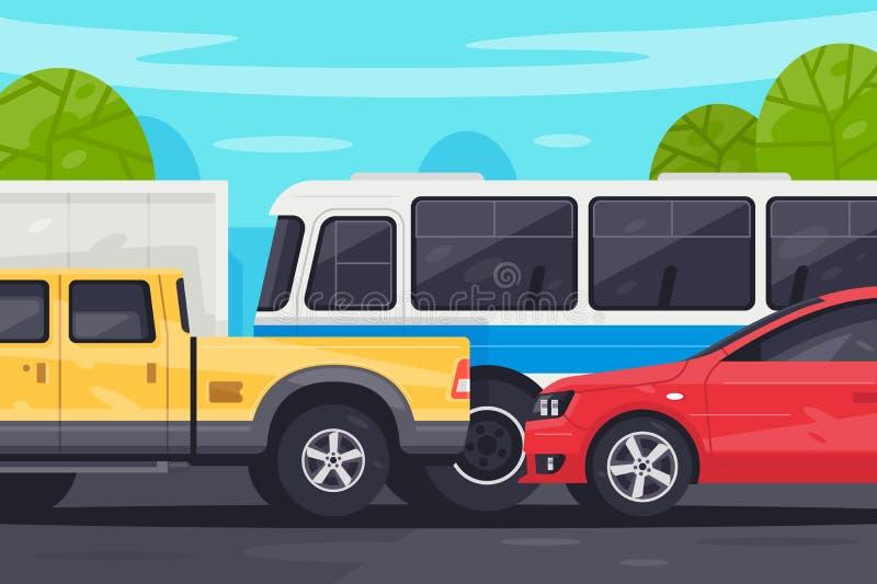 Flat bus, pickup, sedan car in traffic jam. Concept modern vehicle with urban problem near natural tree, blue sky and land. illustration stock illustration