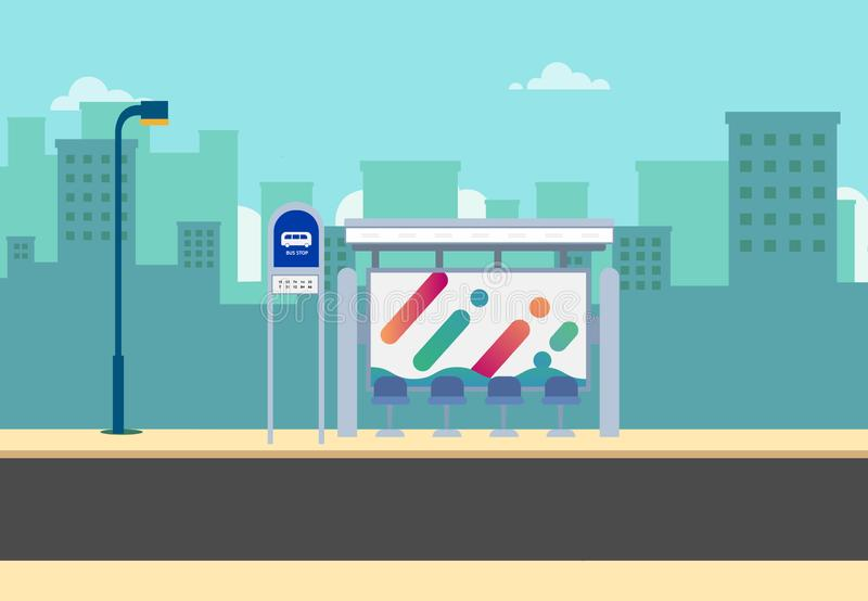 Flat bus stop on main street with city background.Thai bus stop on road with urban.Beautiful cityscape scene. Public bus stop in town stock illustration