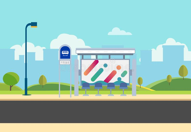 Flat bus stop on main street with nature park and city background.Thai bus stop on road with publicpark in urban. Beautiful cityscape scene.Public park and bus royalty free illustration