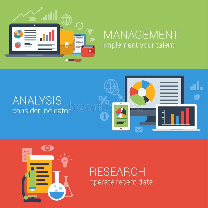 Flat business analysis analytics management research infographic stock illustration
