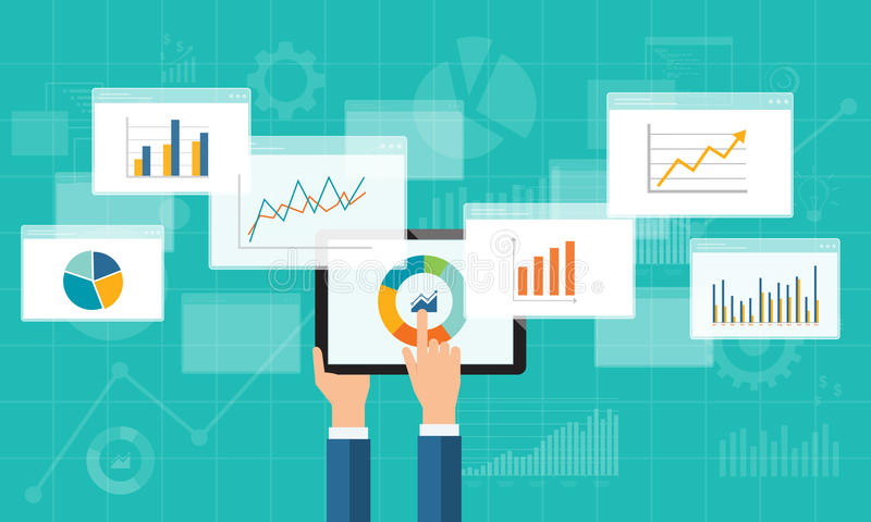 Flat business analytics graph on mobile device vector illustration