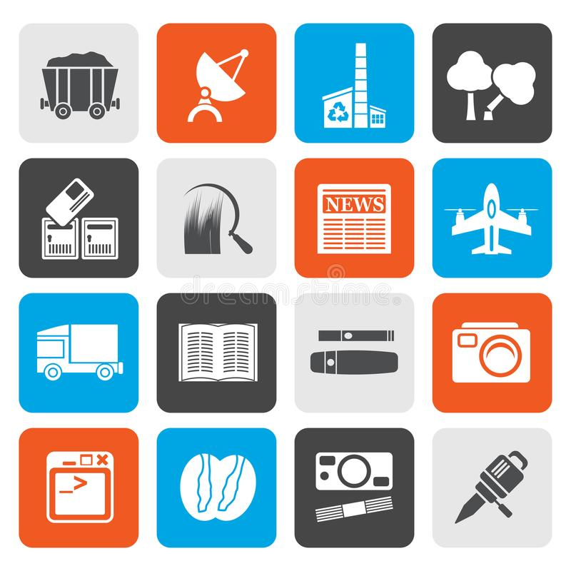 Flat Business and industry icons royalty free illustration