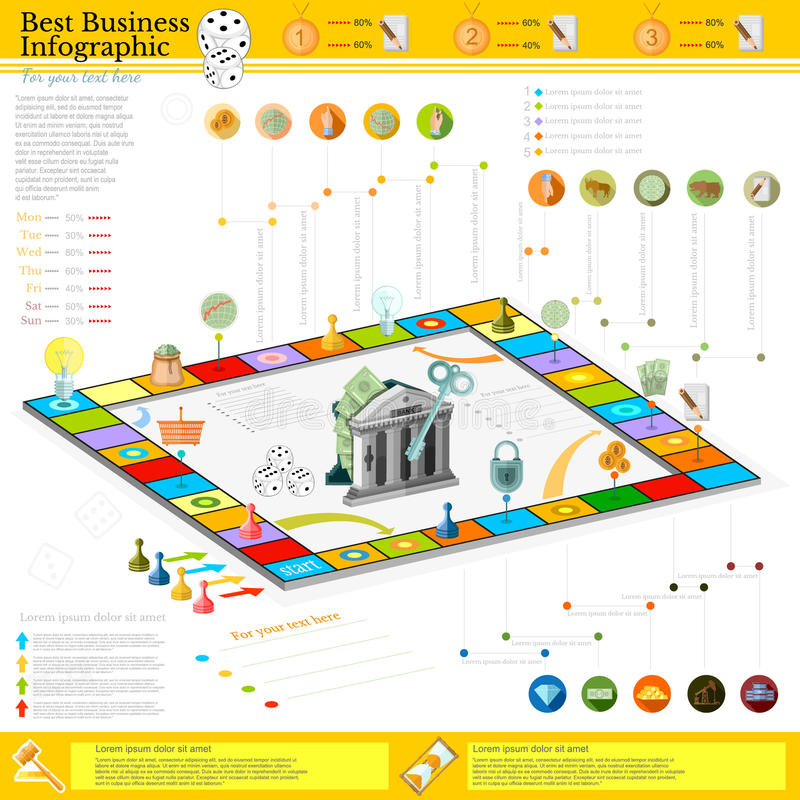 Flat business infographic background with financial board game game cells, dice, game pieces, money, pointer, icons vector illustration