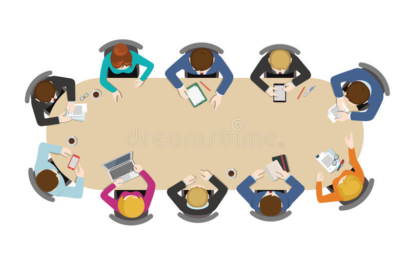 Flat business meetings office brainstorm: staff, top view table. Office table top view business flat web infographic concept vector. Staff around table working vector illustration