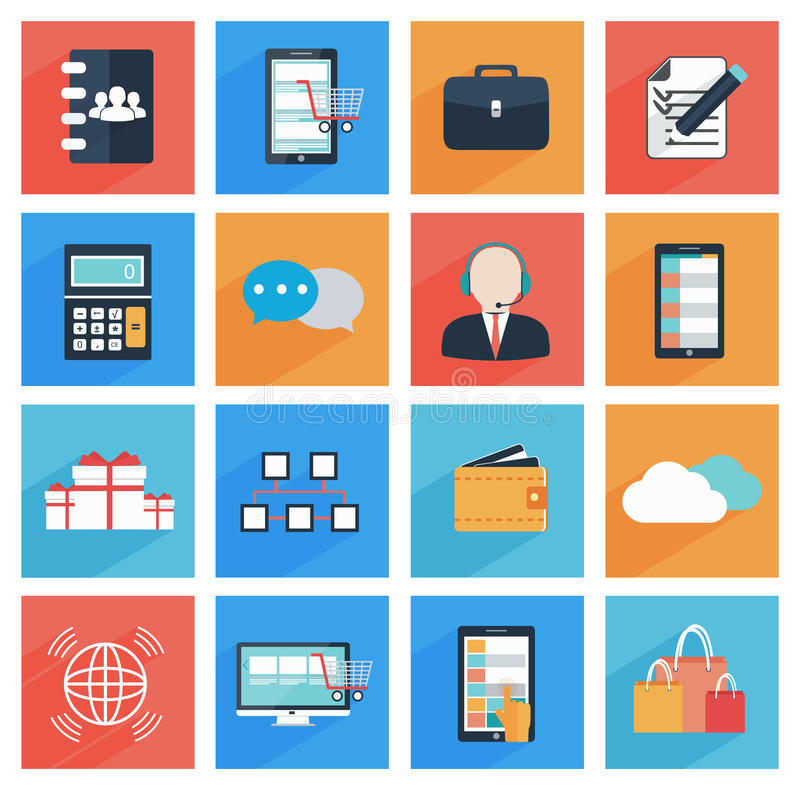 Flat business and office icons with long shadow, vector illustration