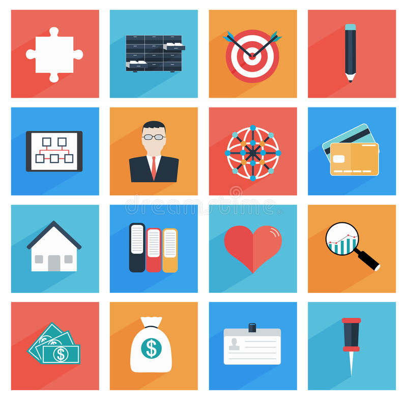 Flat business and office icons with long shadow, stock illustration