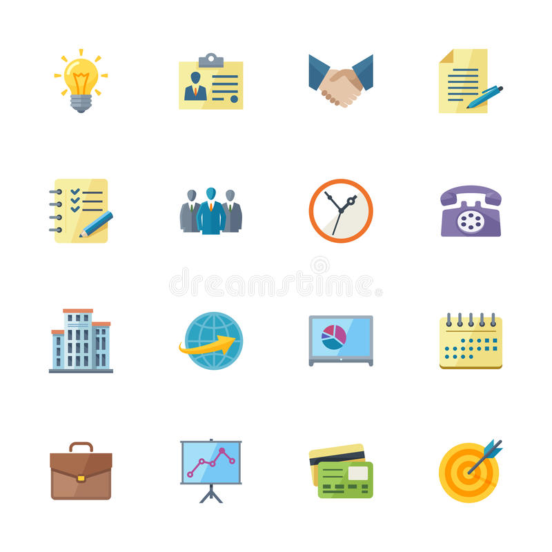 Flat Business & Office Icons. This set contains 16 flat style business & office icons that can be used for designing and developing websites, as well as printed royalty free illustration