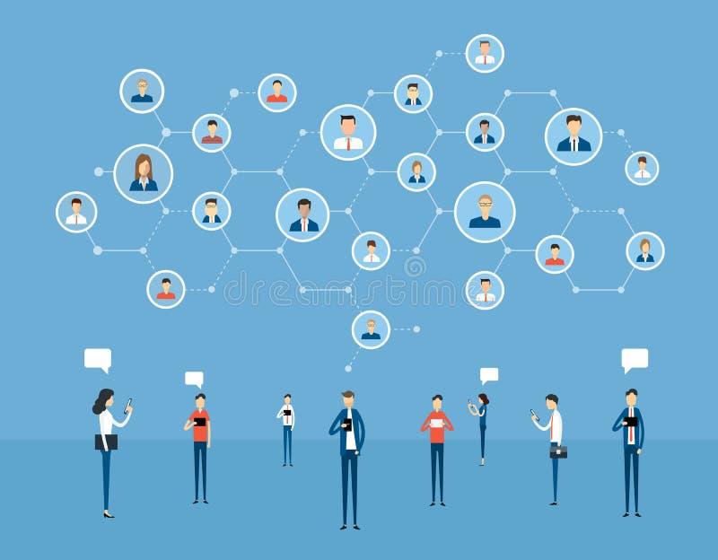 Flat business online communication on social network connection. And digital marketing online concept vector illustration