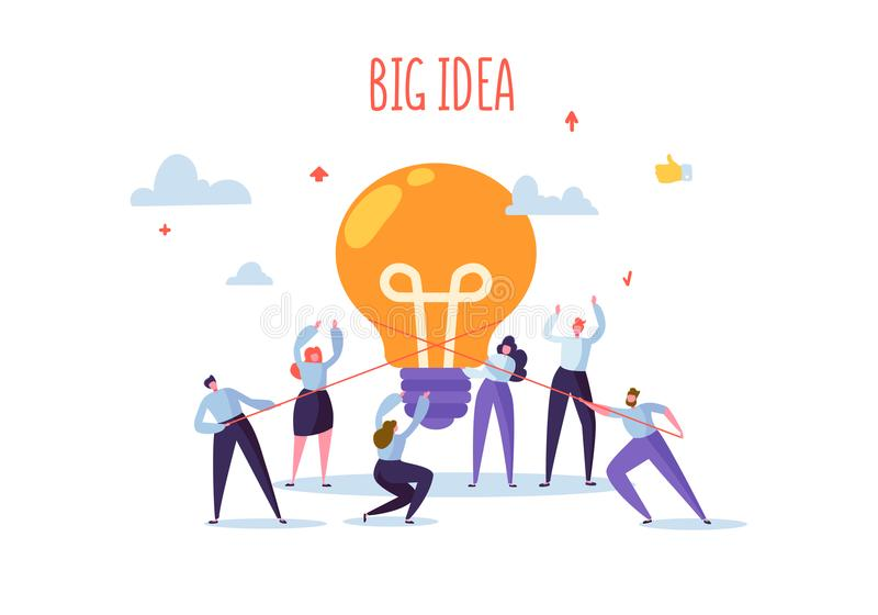 Flat Business People with Big Light Bulb Idea. Innovation, Brainstorming Creativity Concept. Characters Working Together royalty free illustration