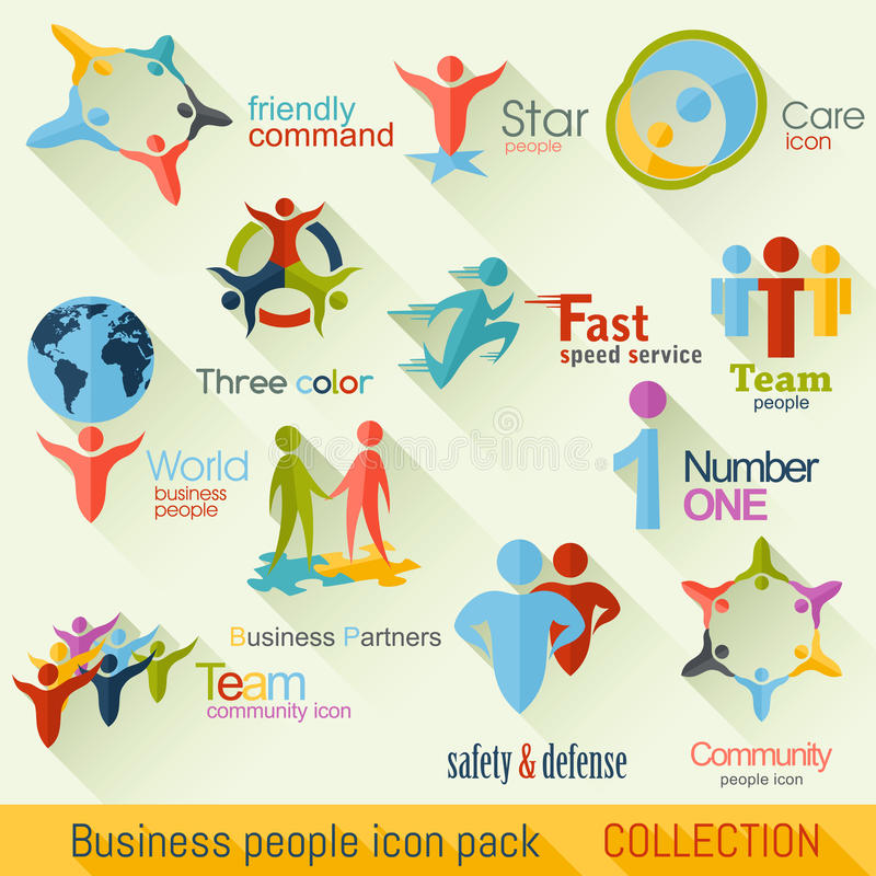 Flat Business People Logo Collection. Corporate Identity royalty free illustration