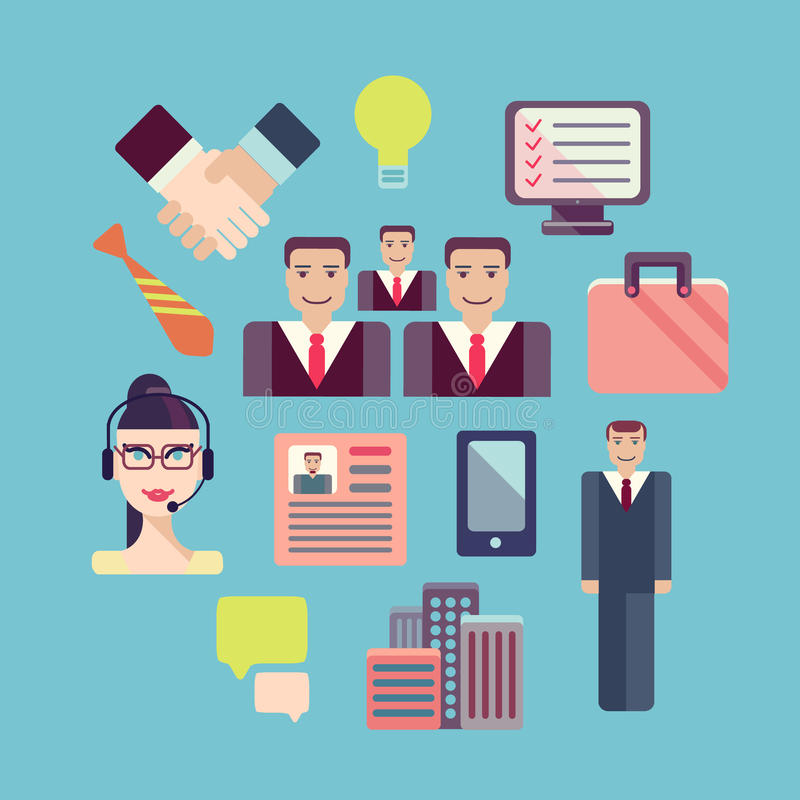 Flat business people meeting icons set of stock illustration