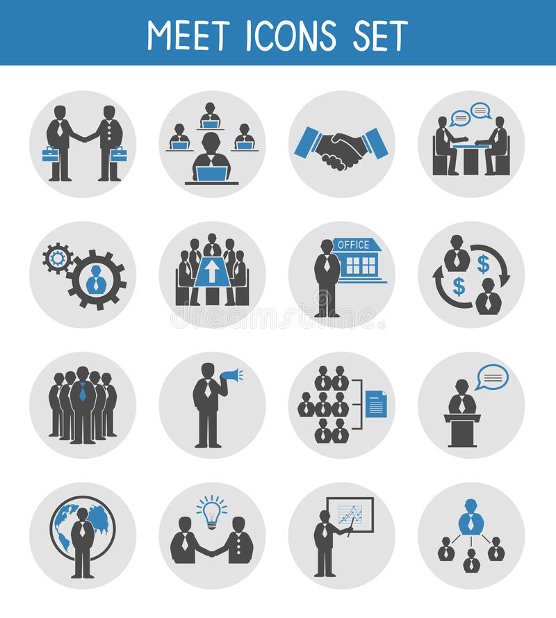 Flat business people meeting icons set. Of management and leadership isolated vector illustration