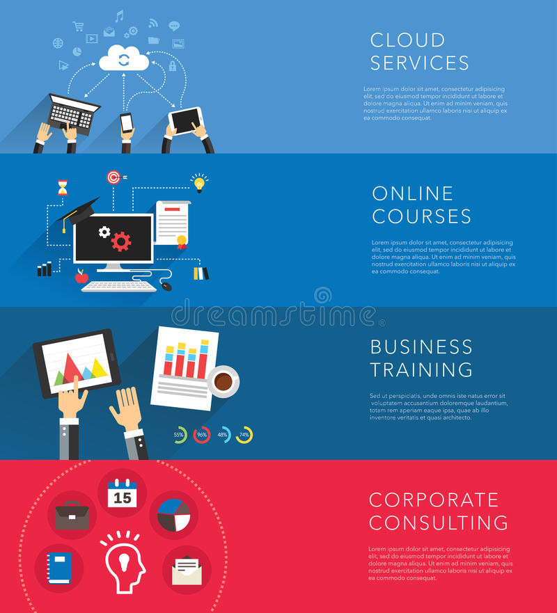 Flat business training templates vector royalty free illustration