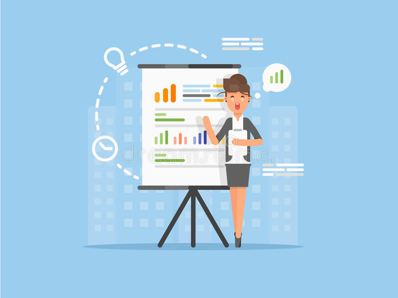Flat Business woman giving a speech showing presentation of the project, sales statistics graphs on presentation screen. stock photo
