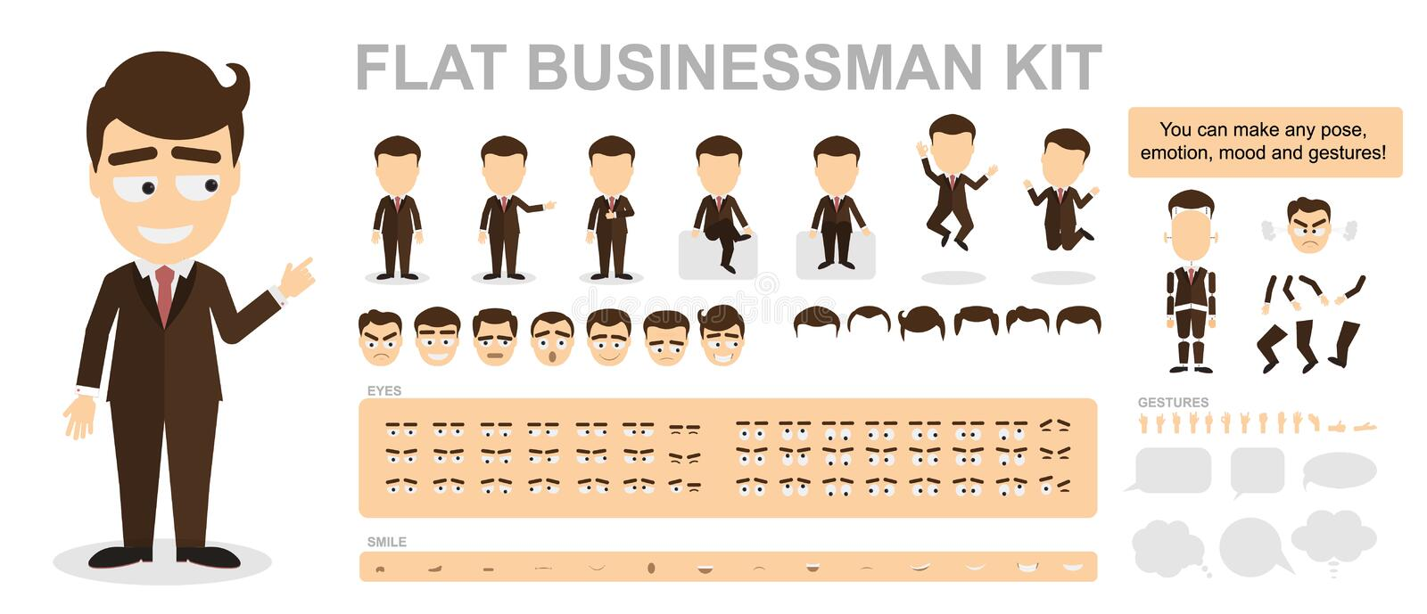 Flat businessman kit. You can make any pose, mood and gestures. Funny cartoon office worker. Creating avatar with construction vector illustration