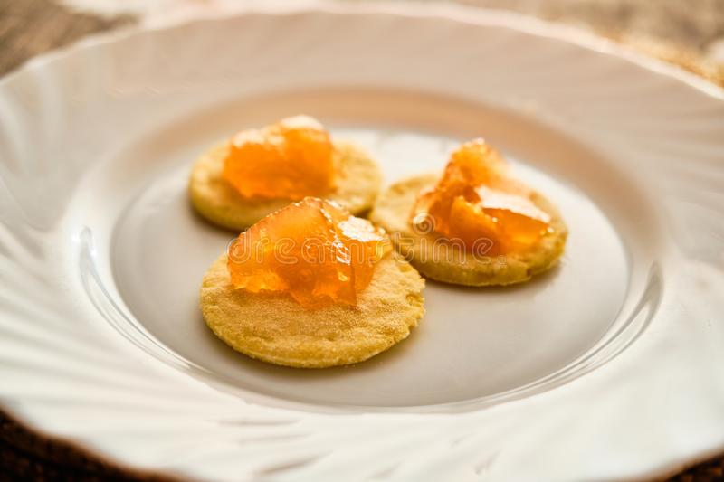 Flat cakes with marmalade royalty free stock image