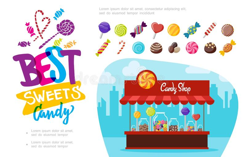Flat Candy Shop Concept. With colorful assorted lollipops chocolate caramel sweets of different shapes vector illustration stock illustration