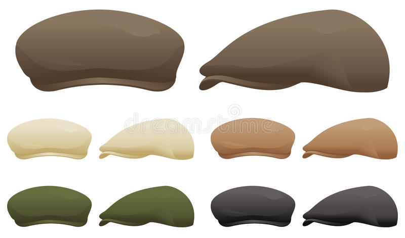 Flat cap. A selection of flat caps in various colors royalty free illustration