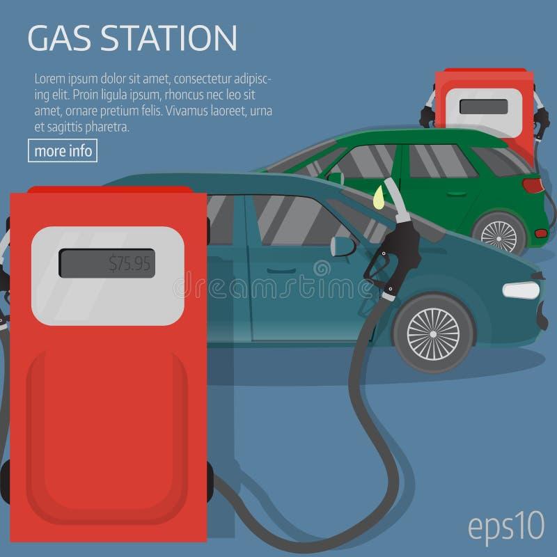 Flat car, pamp station. stock illustration