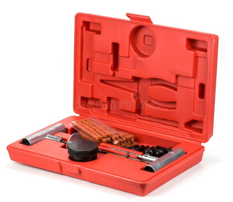 Flat car tire repair kit. Tire plug repair kit for tubeless tires royalty free stock photo