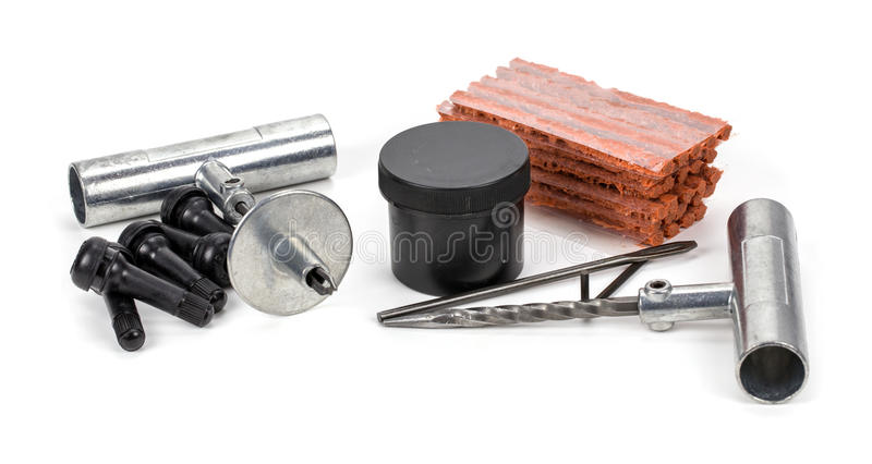 Flat car tire repair kit, Tire plug repair kit for tubeless tire. S royalty free stock photo