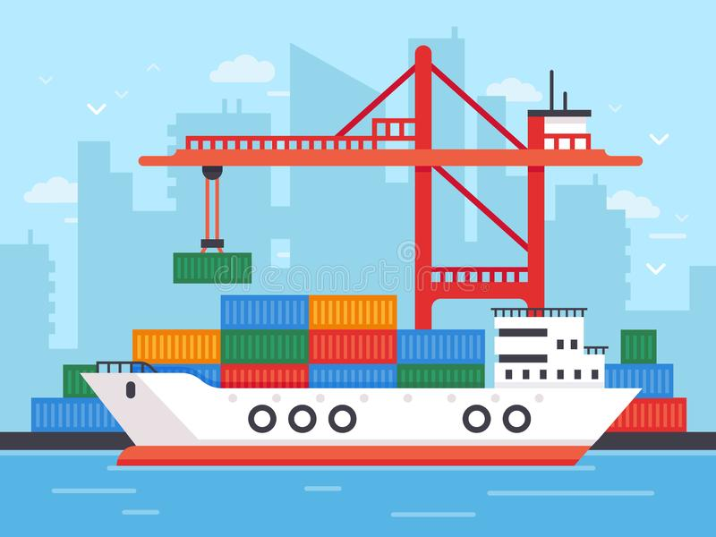Flat cargo ship in docks. Harbor crane of shipping port loading containers to marine freight boat vector illustration royalty free illustration