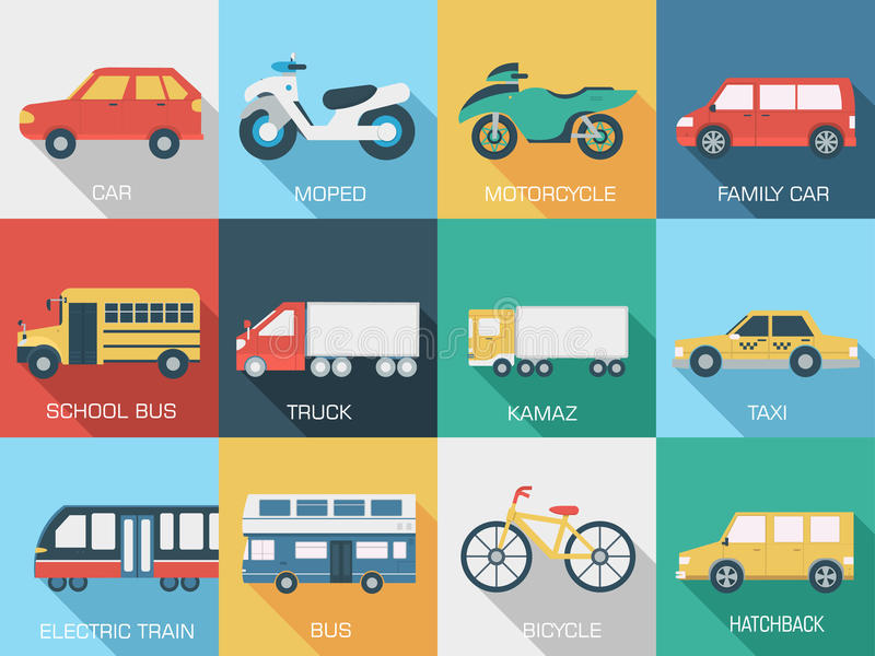 Flat cars concept set icon backgrounds vector illustration